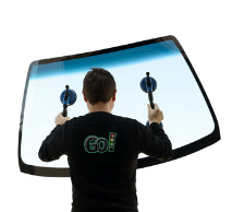 GoGlass employee holding windshield